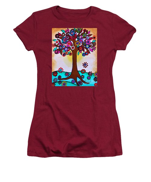 Women's T-Shirt (Athletic Fit) featuring the painting Whimsical Blooming Tree by Pristine Cartera Turkus