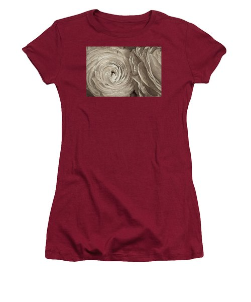Women's T-Shirt (Athletic Fit) featuring the painting White On White Rose by Joan Reese