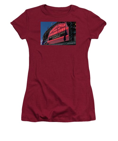 Wrigley Field Marquee Cubs National League Champs 2016 Women's T-Shirt (Junior Cut) by Steve Gadomski