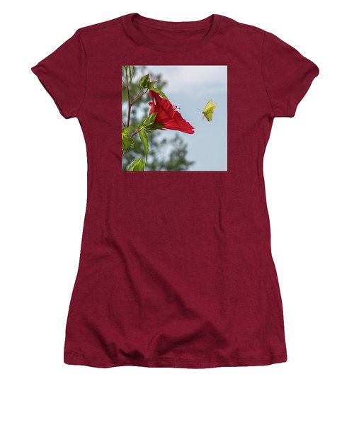 Yellow Butterfly Art Women's T-Shirt (Athletic Fit)