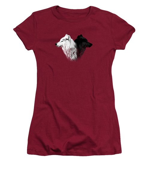 Yellowstone Wolves T-shirt 2 Women's T-Shirt (Junior Cut) by Max Waugh