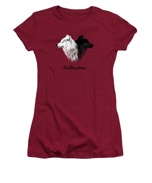 Yellowstone Wolves T-shirt Women's T-Shirt (Junior Cut) by Max Waugh