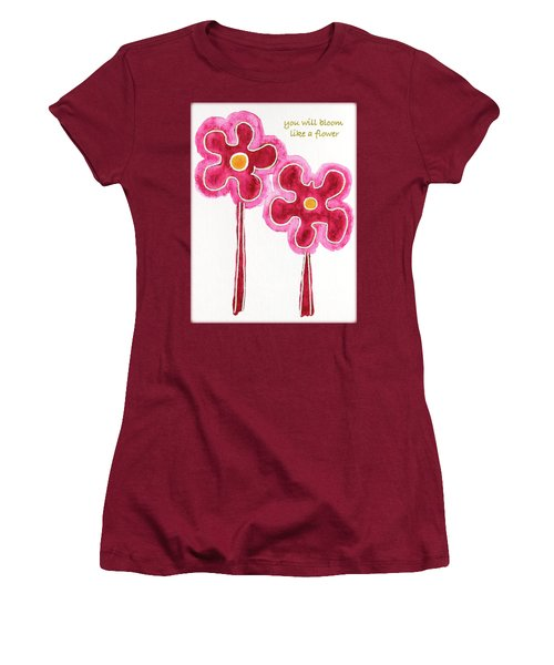 Women's T-Shirt (Junior Cut) featuring the drawing You Will Bloom Like A Flower by Frank Tschakert