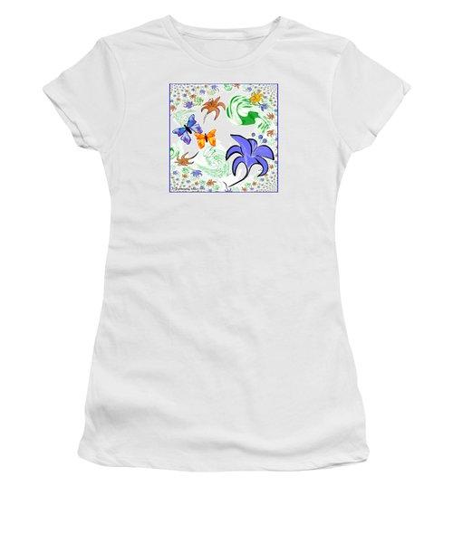 556 - Flowers And Butterflies Women's T-Shirt (Junior Cut) by Irmgard Schoendorf Welch