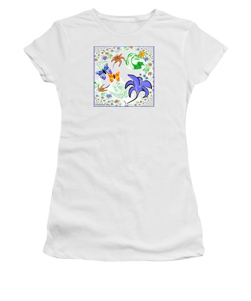 556 - Flowers And Butterflies Women's T-Shirt (Athletic Fit)