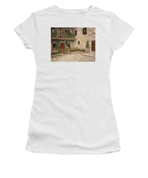 Greek Courtyard - Agiou Stefanou Monastery -balcony Women's T-Shirt (Athletic Fit)