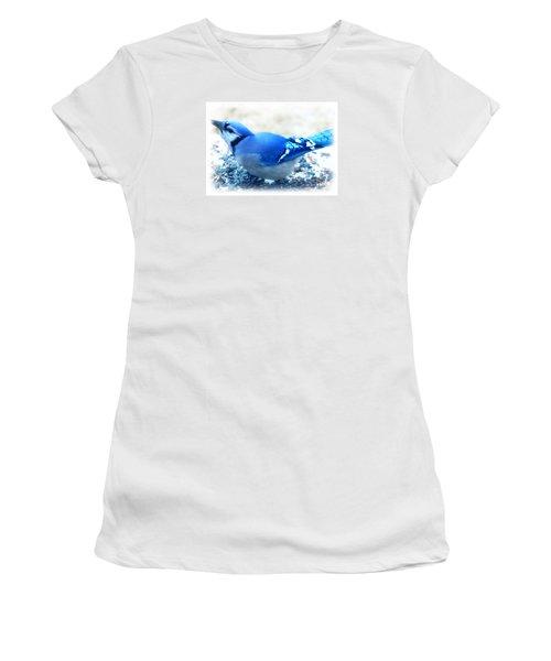 Bright Blue Jay  Women's T-Shirt (Junior Cut) by Peggy Franz