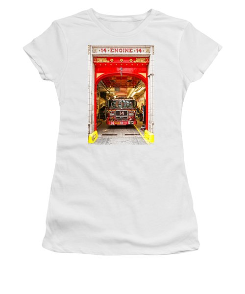 New York Fire Department Engine 14 Women's T-Shirt (Junior Cut) by Luciano Mortula