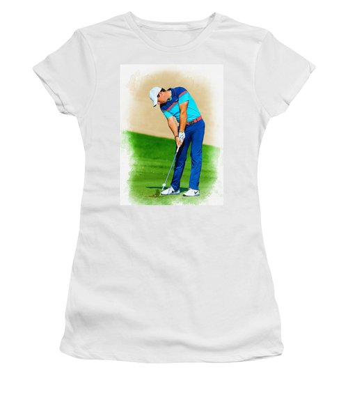 Rory Mcilroy Plays His Second Shot On The Par 4 Women's T-Shirt (Athletic Fit)