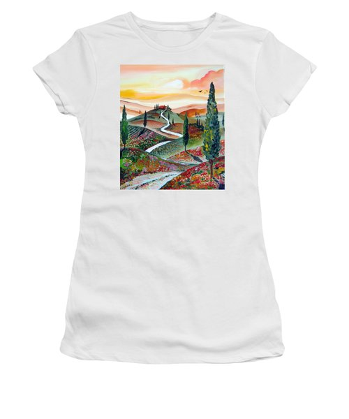 Winding Country Road Among The Hills Of Tuscany Women's T-Shirt (Athletic Fit)