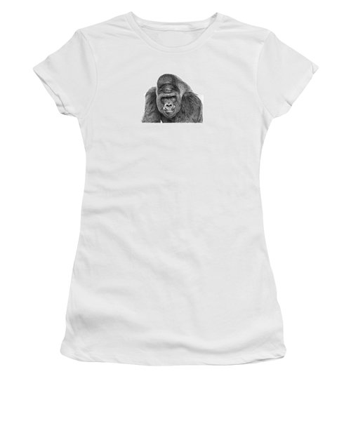 Women's T-Shirt (Junior Cut) featuring the drawing 042 - Gomer The Silverback Gorilla by Abbey Noelle