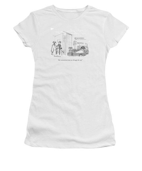 A Caveman Is Seen Lying In A Hospital Bed Women's T-Shirt