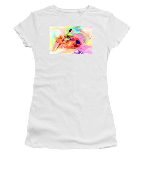 Artist Palette Women's T-Shirt (Junior Cut) by Annie Zeno