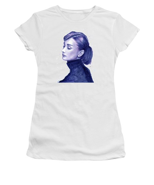 Audrey Hepburn Portrait Women's T-Shirt (Junior Cut) by Olga Shvartsur