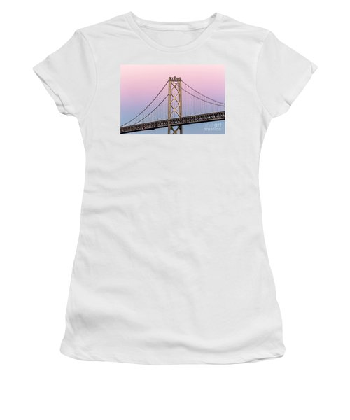Women's T-Shirt featuring the photograph Bay Bridge Lights At Sunset by Kate Brown