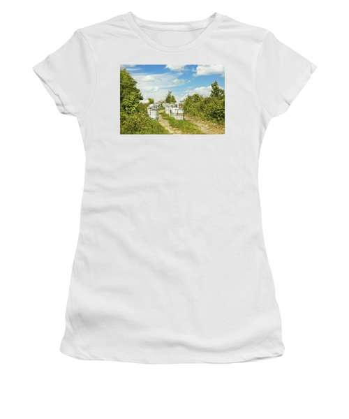 Beehives In A Maine Blueberry Field Women's T-Shirt