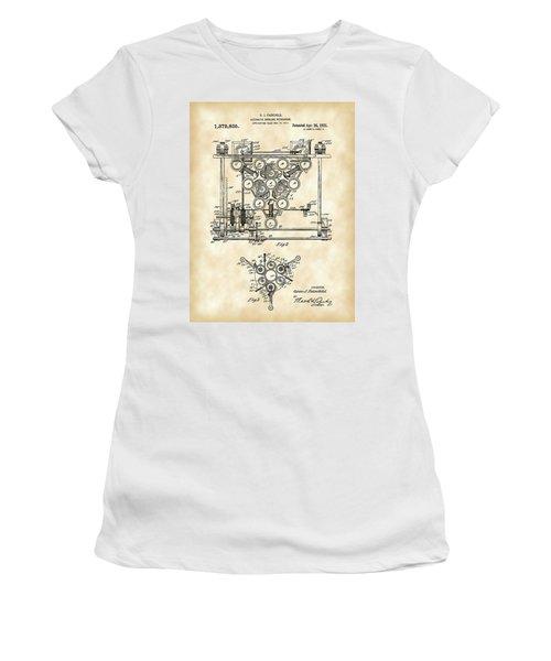 Bowling Pin Setter Patent 1917 - Vintage Women's T-Shirt