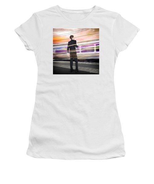 Business Man At Train Station Railway Platform Women's T-Shirt