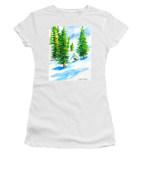 David Skiing The Trees  Women's T-Shirt