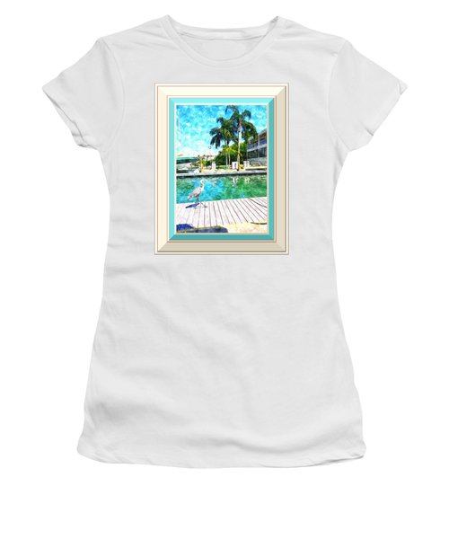 Dry Dock Bird Walk - Digitally Framed Women's T-Shirt