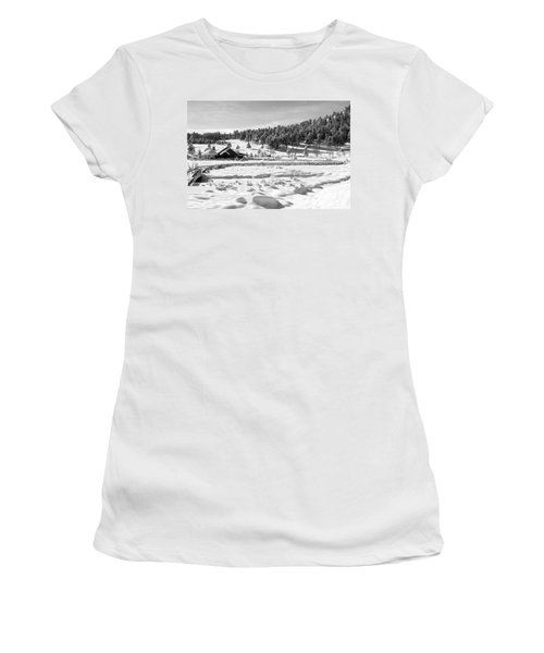 Women's T-Shirt (Junior Cut) featuring the photograph Evergreen Lake House Winter by Ron White