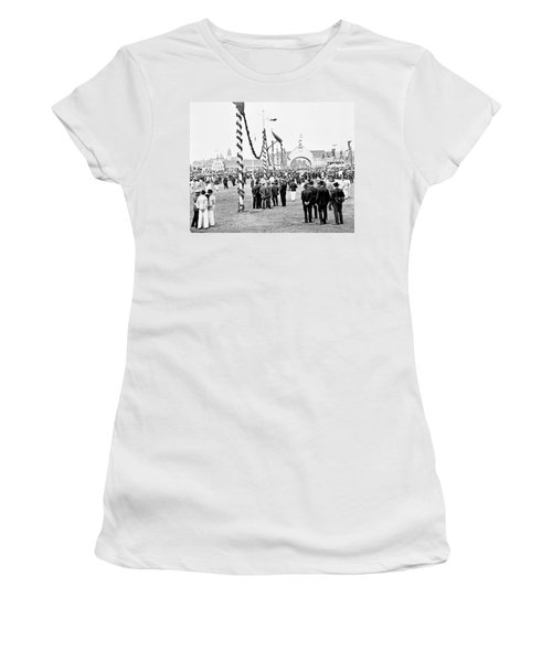 Women's T-Shirt (Junior Cut) featuring the photograph Festival Place Millerntor Hamburg Germany 1903 by A Gurmankin