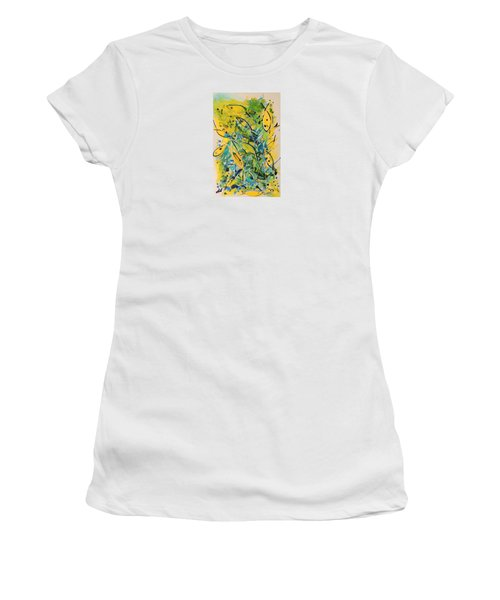 Women's T-Shirt (Junior Cut) featuring the painting Fish Frenzy by Lyn Olsen