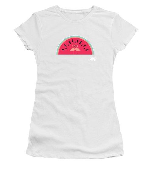 Flamingo Watermelon Women's T-Shirt (Junior Cut) by Susan Claire