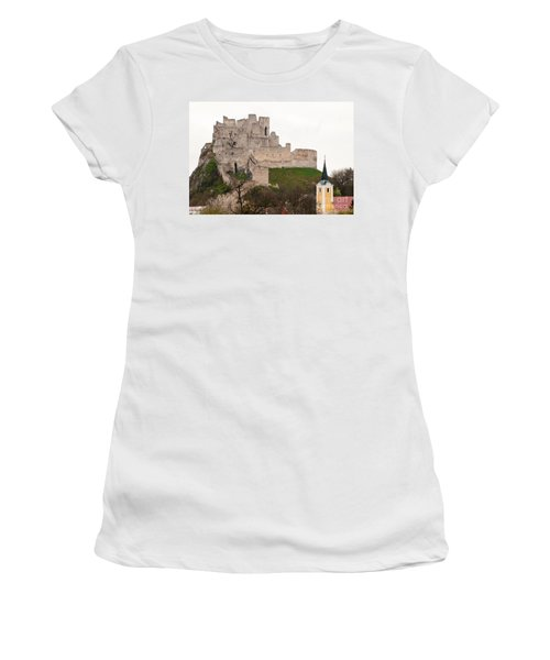 Women's T-Shirt (Junior Cut) featuring the photograph Hrad Beckov - Castle by Les Palenik
