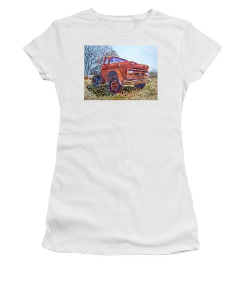 Women's T-Shirt (Junior Cut) featuring the painting Irene's Viking by Joel Deutsch