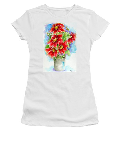 Women's T-Shirt (Junior Cut) featuring the painting Red Flowers by Patrice Torrillo