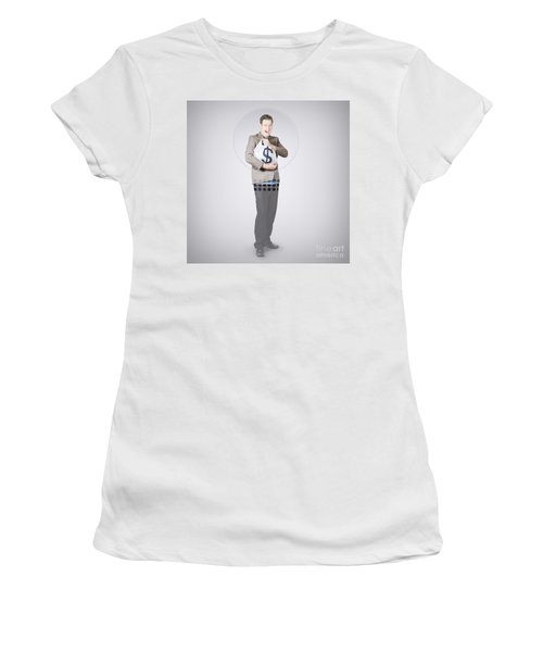 Surprised Business Man Holding Money Bag In Bank Women's T-Shirt