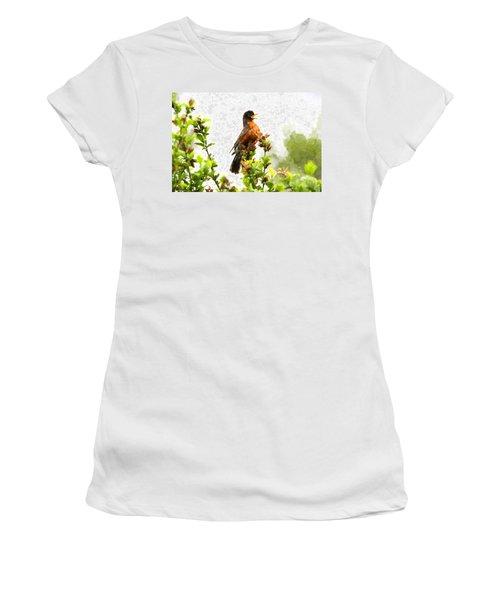 The Robin Sings Women's T-Shirt (Junior Cut) by John Freidenberg
