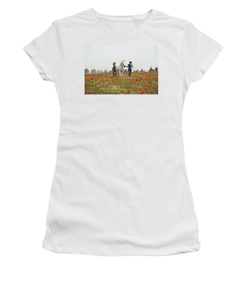 Women's T-Shirt (Junior Cut) featuring the photograph Three At The Poppies' Field... 3 by Dubi Roman