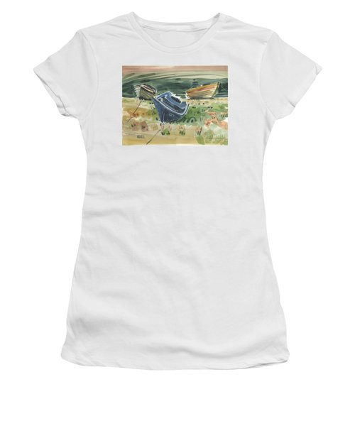 Women's T-Shirt (Junior Cut) featuring the painting Three Boats by Donald Maier