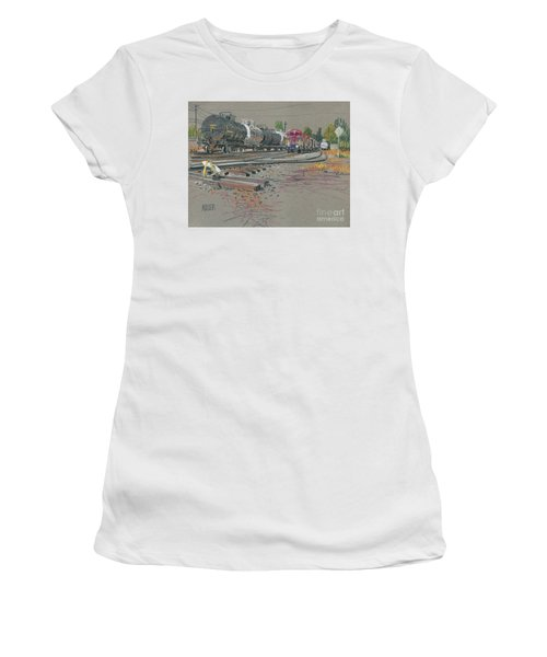 Women's T-Shirt (Junior Cut) featuring the drawing Train's Coming by Donald Maier
