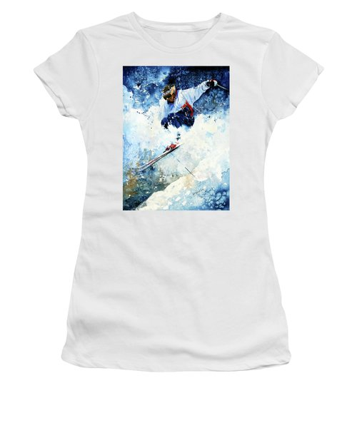 Women's T-Shirt (Athletic Fit) featuring the painting White Magic by Hanne Lore Koehler