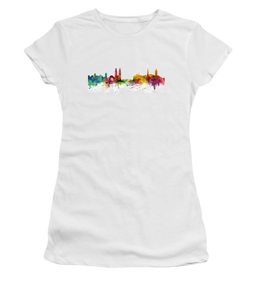Zurich Switzerland Skyline Women's T-Shirt (Junior Cut) by Michael Tompsett