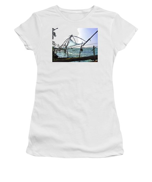 Fishing Nets On The Sea Coast In Alleppey Women's T-Shirt (Junior Cut)