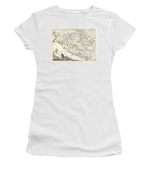 1690 Coronelli Map Of Montenegro Women's T-Shirt (Athletic Fit)
