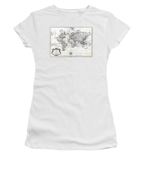 1748 Antique World Map Versuch Von Einer Kurzgefassten Karte  Women's T-Shirt (Athletic Fit)