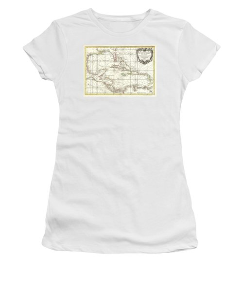 1762 Zannoni Map Of Central America And The West Indies Women's T-Shirt (Junior Cut) by Paul Fearn