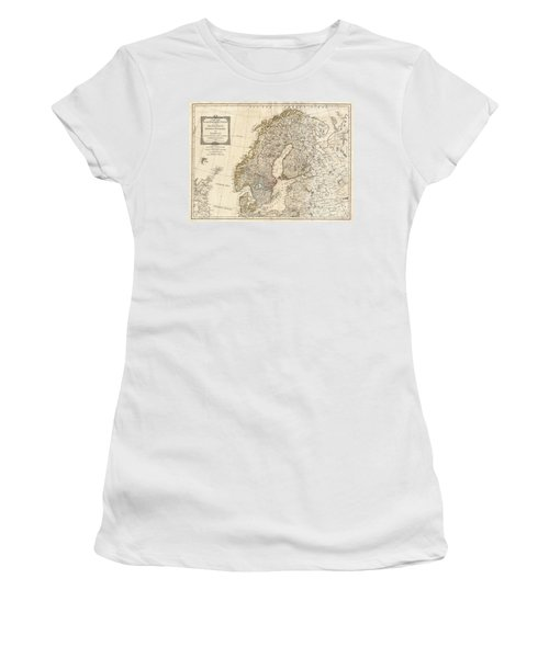 1794 Laurie And Whittle Map Of Norway Sweden Denmark And Finland Women's T-Shirt (Athletic Fit)