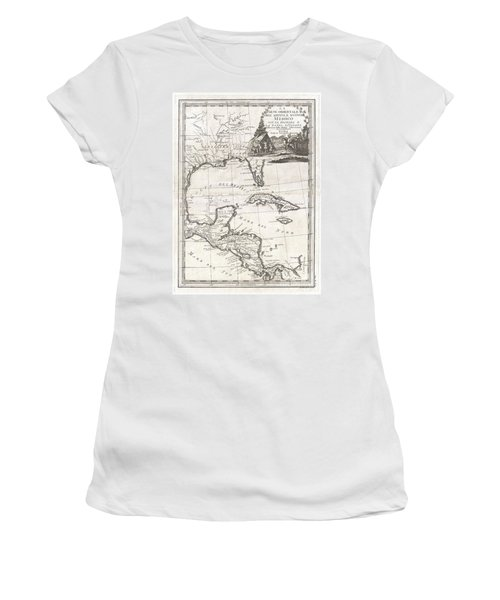 1798 Cassini Map Of Florida Louisiana Cuba And Central America Women's T-Shirt (Junior Cut) by Paul Fearn