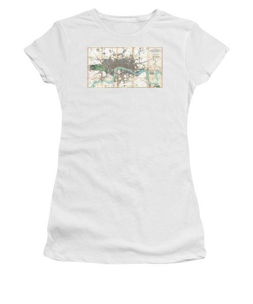 1806 Mogg Pocket Or Case Map Of London Women's T-Shirt (Junior Cut) by Paul Fearn