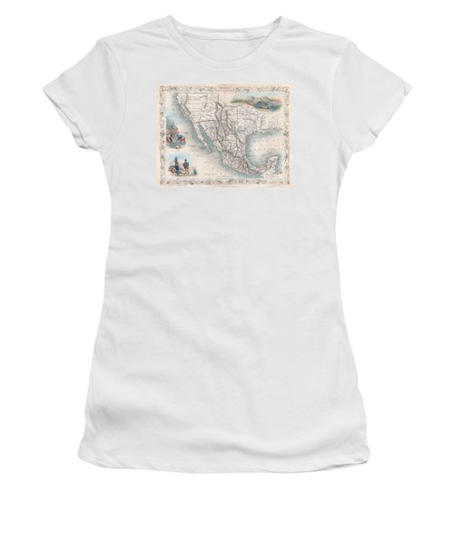 1851 Tallis Map Of Mexico Texas And California  Women's T-Shirt (Athletic Fit)