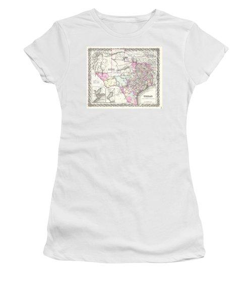 1855 Colton Map Of Texas Women's T-Shirt (Junior Cut) by Paul Fearn