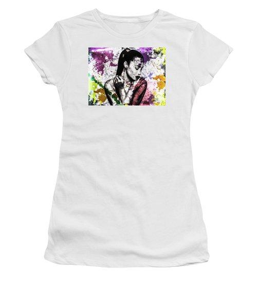 Women's T-Shirt (Junior Cut) featuring the digital art Demi Lovato by Svelby Art