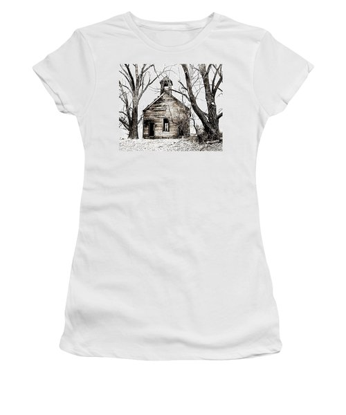 Women's T-Shirt (Junior Cut) featuring the photograph 1904 School House Memory by Sonya Lang