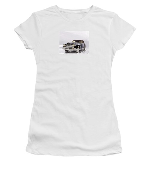 1946 Lincoln Continental Convertible Foggy Reflection Women's T-Shirt (Junior Cut) by Jack Pumphrey